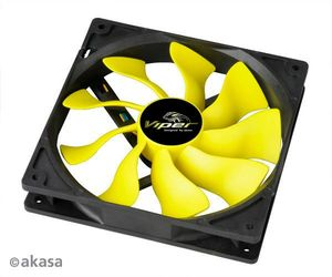 Akasa Ultra Quiet Viper Series, 140x140x25mm, 600-1600rpm, 187.9m³/h, 12.5-26.1dB(A) (AK-FN063)