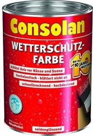 Consolan Wetterschutz-Farbe außen Holzschutzmittel weiß, 2.5l