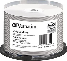 Verbatim DVD-R 4.7GB 16x, 50er Spindel, printable (43744)