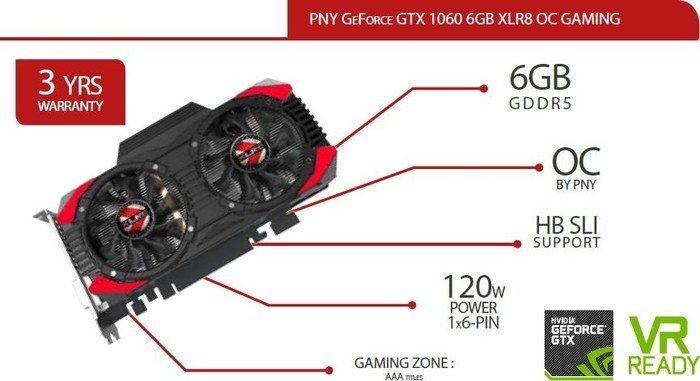 PNY GeForce GTX 1060 XLR8 OC Gaming, 6GB GDDR5, DVI, HDMI, 3x DisplayPort (KF1060GTXXG6GEPB)