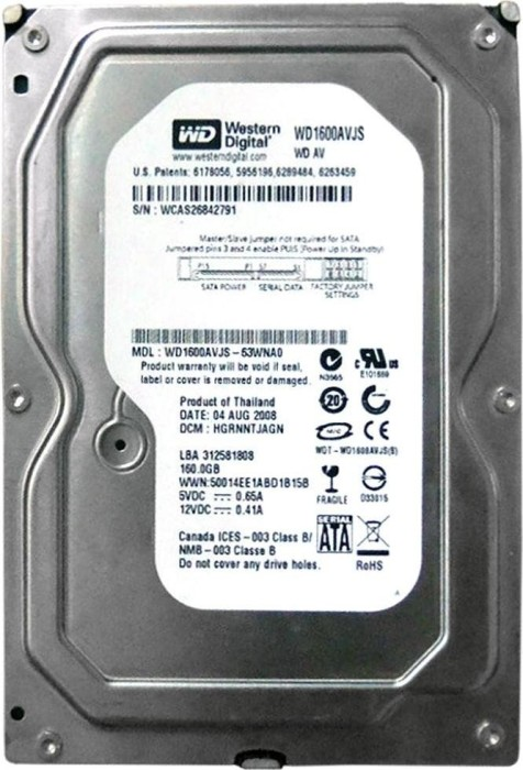 Western Digital AV 160GB, 8MB cache, SATA 3Gb/s (WD1600AVJS)