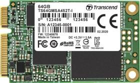 Transcend Industrial MSA452T-I SSD 64GB, mSATA (TS64GMSA452T-I)