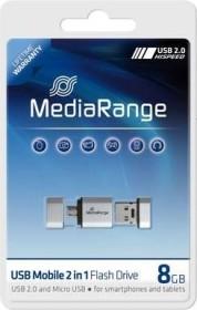 MediaRange Mobile 2in1 OTG Flashdrive 8GB, USB-A 2.0/USB 2.0 Micro-B (MR930)
