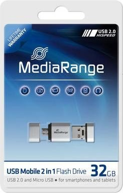 MediaRange Mobile 2in1 OTG Flashdrive 32GB, USB-A 2.0/USB 2.0 micro-B (MR932)
