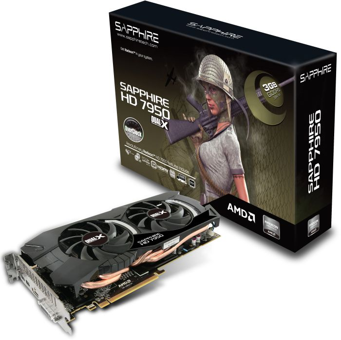 Sapphire Radeon HD 7950 OC 950M, 3GB GDDR5, DVI, HDMI, 2x mini DisplayPort, full retail (11196-10-40G)