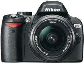 Nikon D60 schwarz mit Objektiv AF-S VR DX 18-55mm und AF-S VR DX 55-200mm (VBA210K003)