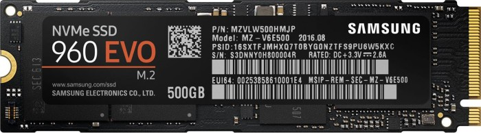 Samsung SSD 960 EVO 500GB, M.2 (MZ-V6E500BW)