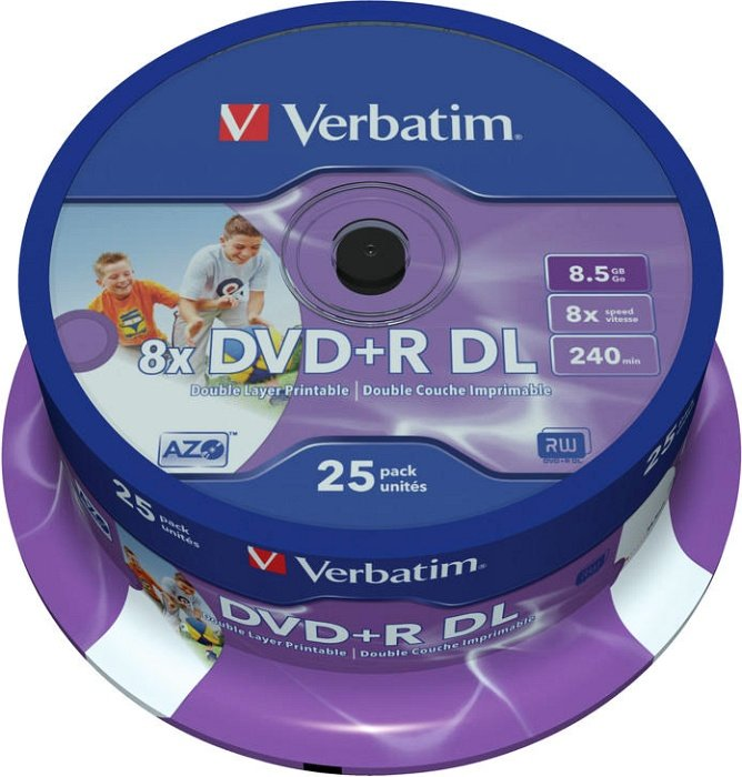 Verbatim DVD+R 8.5GB DL 8x printable, 25-pack Spindle (43667)