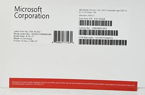 Microsoft Windows Server 2022, 5 User CAL (deutsch) (PC) (R18-06468) -- via Amazon Partnerprogramm