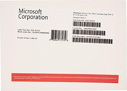 Microsoft Windows Server 2022, 1 User CAL (deutsch) (PC) (R18-06450) -- von Metzinger-Hanssen GmbH