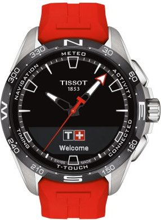 Tissot T-Touch Connect Solar schwarz/silber mit Kautschukarmband rot (T121.420.47.051.01)