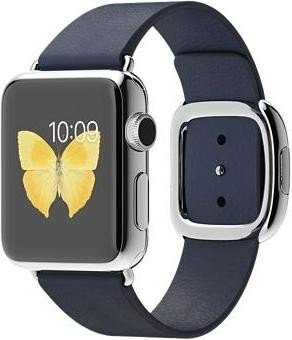 Apple Watch Series 1 38mm mit modernem Lederarmband Small silber/dunkelblau (MJ332FD)