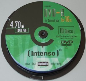 Intenso DVD-R 4.7GB, 10-pack -- provided by bepixelung.org - see http://bepixelung.org/5249 for copyright and usage information