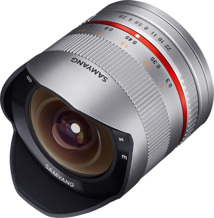 Samyang 8mm 2.8 UMC Fisheye II für Fujifilm X silber (1220310102)