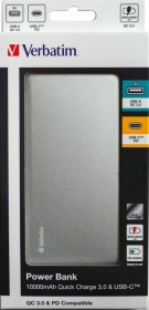 Verbatim Powerbank Quick Charge 3.0 & USB-C 10000mAh silber (49576)