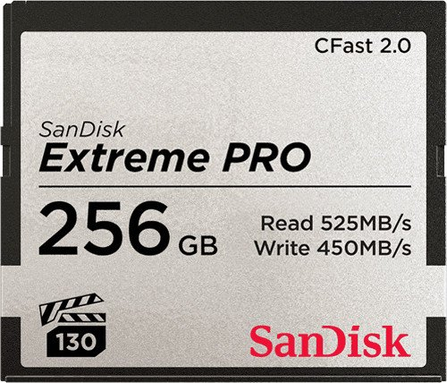 SanDisk Extreme PRO R525/W450 CFast 2.0 CompactFlash Card 256GB (SDCFSP-256G-G46D)