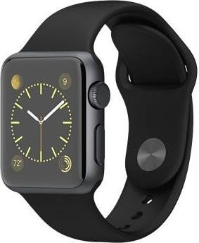 Apple Watch Sport Series 1 38mm mit Sportarmband grau/schwarz (MJ2X2FD)