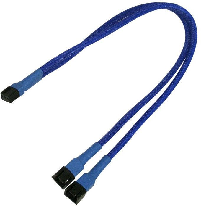 Nanoxia 3-Pin fan Y cable 30cm, sleeved blue