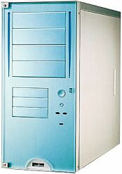 Lian Li PC-6089A, Midi-Tower, aluminum, Acrylfront blue, noise-insulated (various Power Supplies)