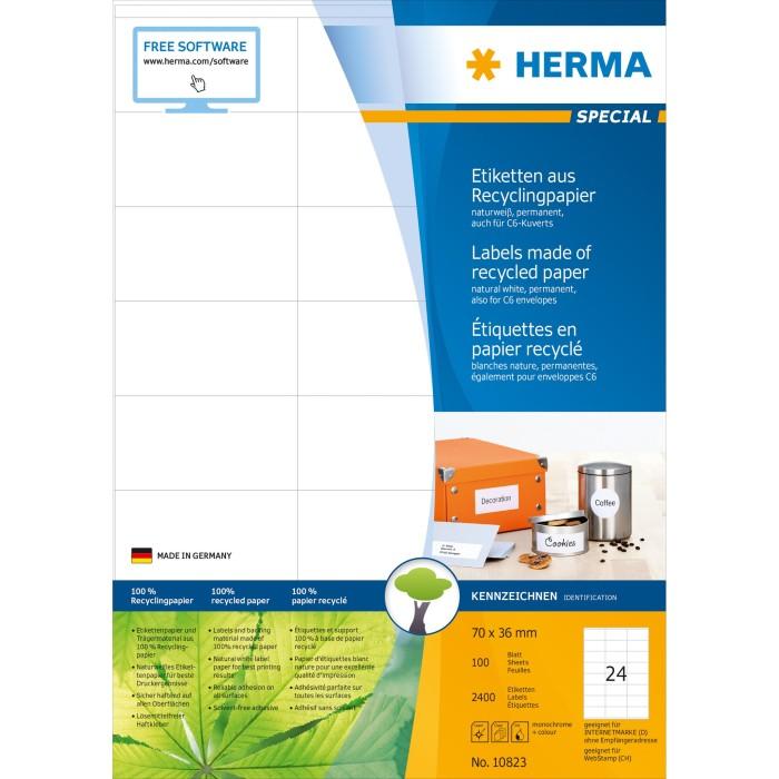 10823 Herma 10823 Recycling Universal-Etiketten 7.0x3.6 cm 2400 100 Blatt