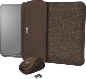 """Trust Yvo Wireless Mouse Set mit Wendehülle für 15.6"""" Laptops, brown hearts, USB (23446)"""