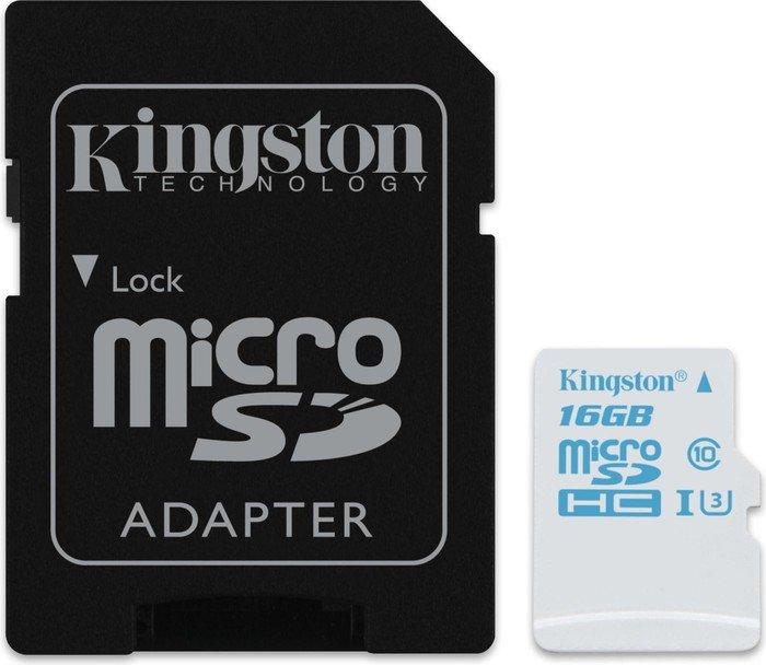 Kingston Action Camera UHS-I U3 R90/W45 microSDHC 16GB Kit, UHS-I U3, Class 10 (SDCAC/16GB)