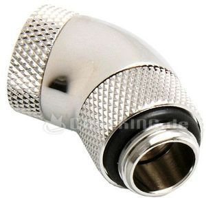 "Bitspower adapter 45 degrees 1/4"" on 1/4"" rotatable matte silver (BP-45R2D) -- (c) caseking.de"