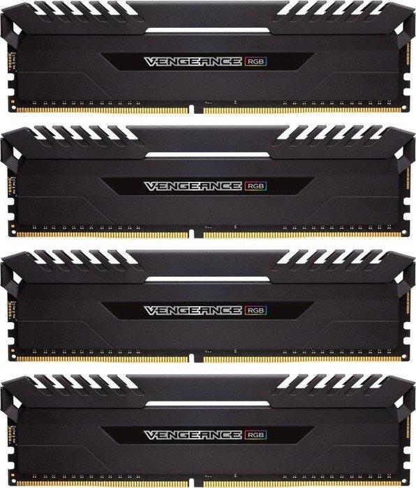 Corsair Vengeance RGB black DIMM kit 64GB, DDR4-3733, CL17-19-19-39 (CMR64GX4M4K3733C17)