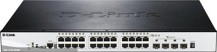 D-Link DGS-1510 Rackmount Gigabit Smart stack switch, 24x RJ-45, 4x SFP+, PoE+ (DGS-1510-28XMP)