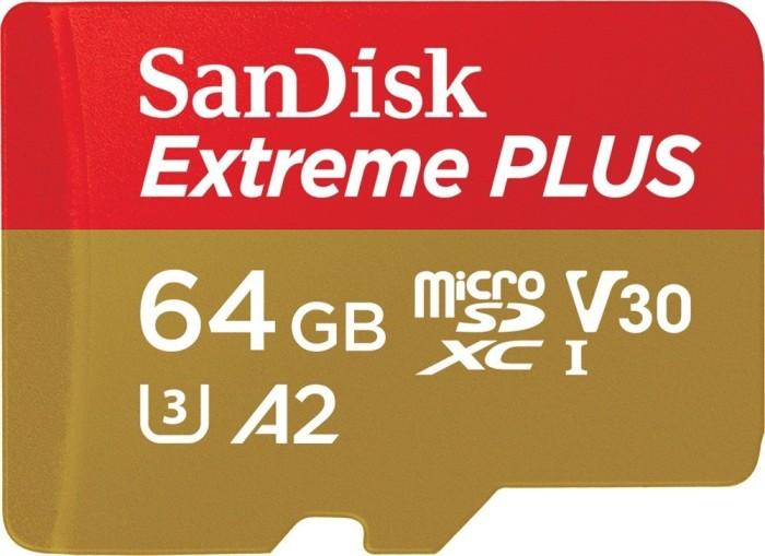 SanDisk Extreme PLUS R170/W90 microSDXC 64GB Kit, UHS-I U3, A2, Class 10 (SDSQXBZ-064G-GN6MA)