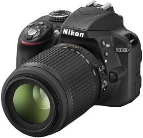 Nikon D3300 schwarz mit Objektiv AF-S VR DX 18-55mm II und AF-S VR DX 55-200mm (VBA390K007)