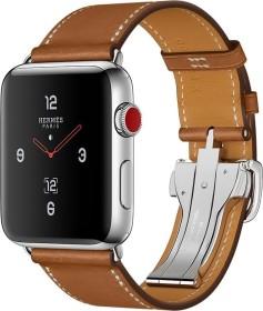 Apple Watch Hermès (GPS + Cellular) Edelstahl 42mm silber mit Single Tour Barenia-Lederarmband mit Faltschließe hellbraun (MQMU2ZD/A)