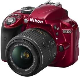 Nikon D3300 rot mit Objektiv AF-S VR DX 18-55mm 3.5-5.6G II (VBA391K001)