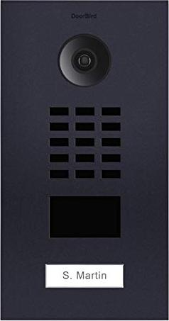 DoorBird D2101V IP Video door terminal with 1 call button, aluminium, brushed, anthracite, incl. flush housing (D2101V-RAL7016)