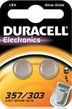 Duracell 357/303 (SR44) round cell, silver oxide, 1.5V