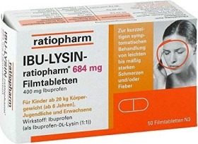 IBU-lysine-ratiopharm 684mg film-coated tablets, 50 pieces
