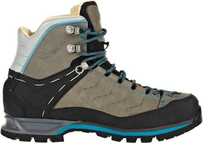 Salewa Mountain Trainer Mid Leder - HALBHOHER Bergschuh Damen, Damen Trekking- & Wanderstiefel, Grau (Pewter/Ocean 4053), 38.5 EU (5.5 Damen UK)