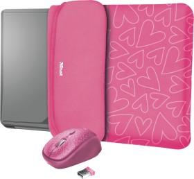 "Trust Yvo Wireless Mouse Set mit Wendehülle für 15.6"" Laptops, pink hearts, USB (23443)"