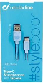 Cellularline USB Cable Stylecolor USB-C 1.00m blau (USBDATATYCSMARTB)