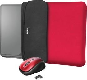 "Trust Yvo Wireless Mouse Set mit Wendehülle für 15.6"" Laptops, rot, USB (23455)"