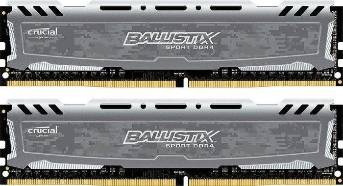 Crucial Ballistix Sports LT grey DIMM kit 16GB, DDR4-2666, CL16-18-18 (BLS2C8G4D26BFSBK/BLS2K8G4D26BFSBK)