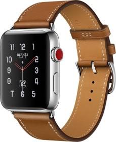 Apple Watch Hermès (GPS + Cellular) Edelstahl 42mm silber mit Single Tour Barenia-Lederarmband hellbraun (MQMR2ZD/A)