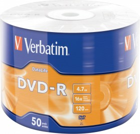 Verbatim DVD-R 4.7GB 16x, 50-pack Spindle matt Silver (43791)