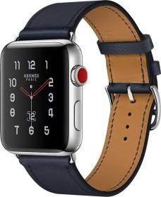 Apple Watch Hermès (GPS + Cellular) Edelstahl 42mm silber mit Single Tour Swift-Lederarmband indigoblau (MQMT2ZD/A)