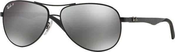 Ray-Ban Unisex Sonnenbrille, RB8313 002/K7 58, Gr: 58, Schwarz (Gestell: schwarz (shiny) Glas: polarisiert grau verspiegelt 002/K7)