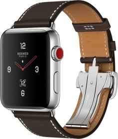 Apple Watch Hermès (GPS + Cellular) Edelstahl 42mm silber mit Single Tour Barenia-Lederarmband mit Faltschließe dunkelbraun (MQMV2ZD/A)
