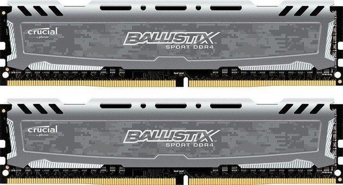Crucial Ballistix Sports LT grey DIMM kit 16GB, DDR4-3200, CL16-18-18 (BLS2C8G4D32AESBK/BLS2K8G4D32AESBK)