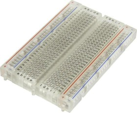 Breadboard, number of pins 400, 4 conductor rails, 82x55mm, transparent (various Manufacturer)