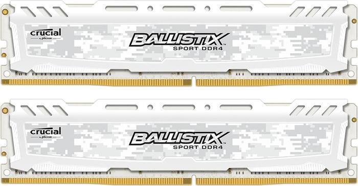 Crucial Ballistix Sport LT weiß DIMM Kit 16GB, DDR4-3000, CL15-16-16 (BLS2C8G4D30AESCK/BLS2K8G4D30AESCK)