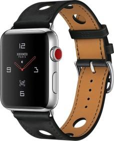 Apple Watch Hermès (GPS + Cellular) Edelstahl 42mm silber mit Single Tour Rallye Gala-Lederarmband schwarz (MQMW2ZD/A)